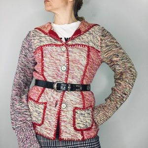 Sparrow Anthropologie patchwork hooded sweater